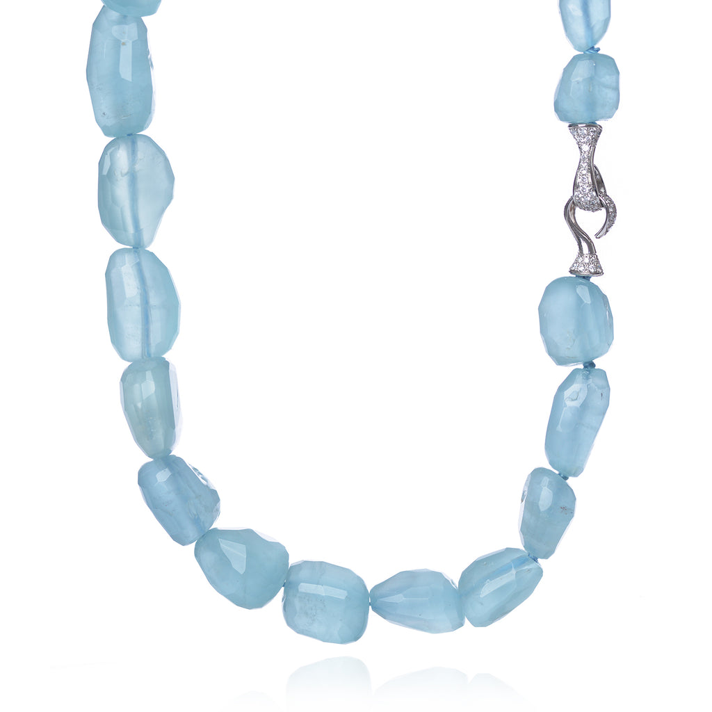 Aquamarine and Diamond Encrusted Clasp Necklace by McFarlane Fine Jewellery