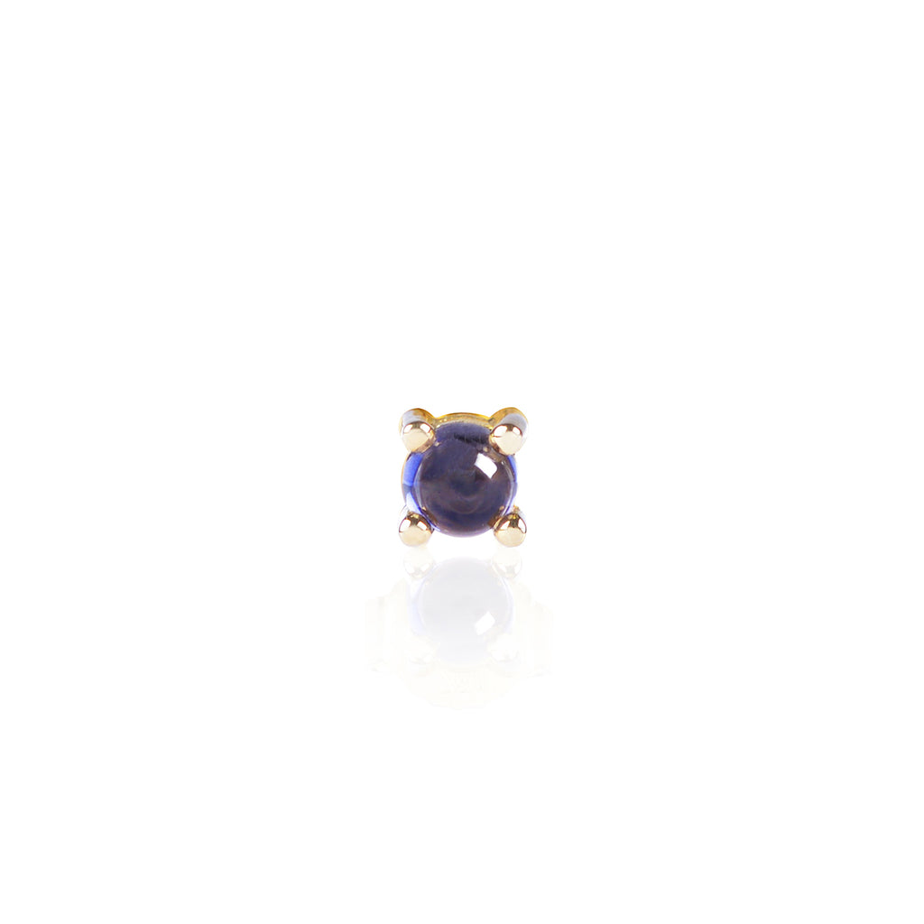 Blue Iolite Stud in 18ct yellow gold by Love Is