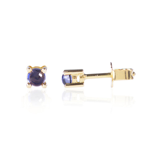 Blue Iolite Studs in 18ct yellow gold by Love Is Side View
