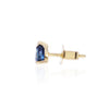 Blue Sapphire Stud in 18ct yellow gold by Love Is Side View