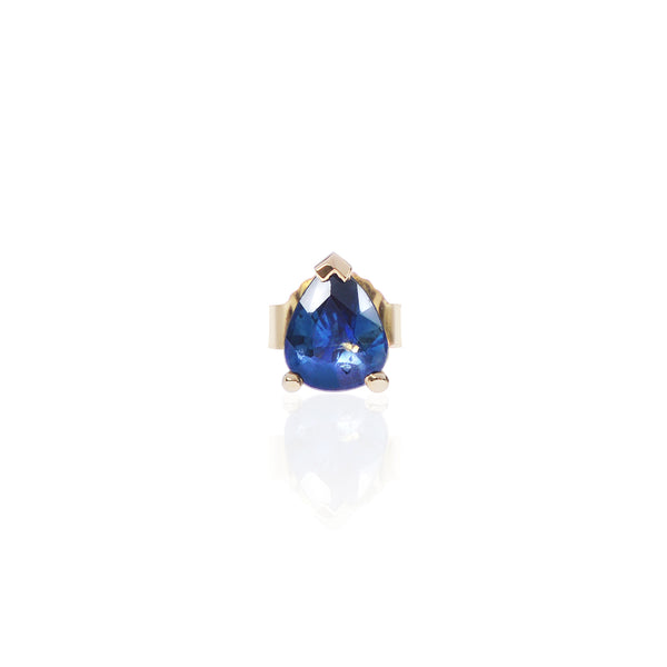 Blue Sapphire Stud in 18ct yellow gold by McFarlane Fine Jewellery