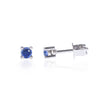 Blue Sapphire Studs in 18ct White Gold side view by McFarlane Fine Jewellery