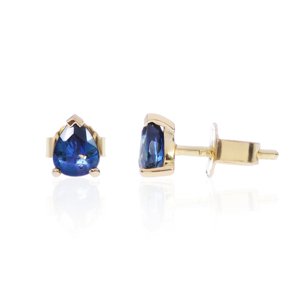 Blue Sapphire Studs in 18ct yellow gold side view by McFarlane Fine Jewellery