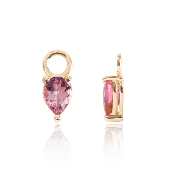 Bright Pink Tourmaline Earring Pendants Side View by McFarlane Fine Jewellery
