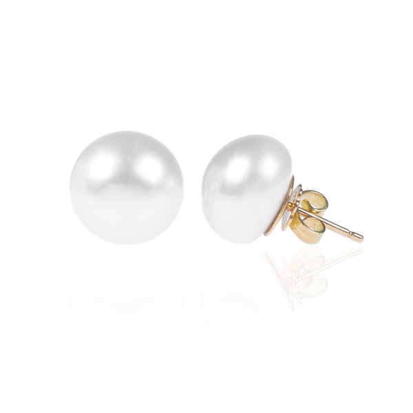 Large Button Pearls in 18ct yellow gold side view by McFarlane Fine Jewellery