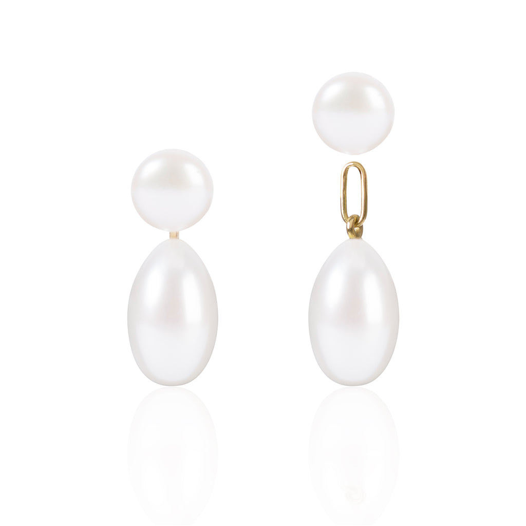 Button Pearls with Elongated Pearl Pendants with Detached Pendant by McFarlane Fine Jewellery