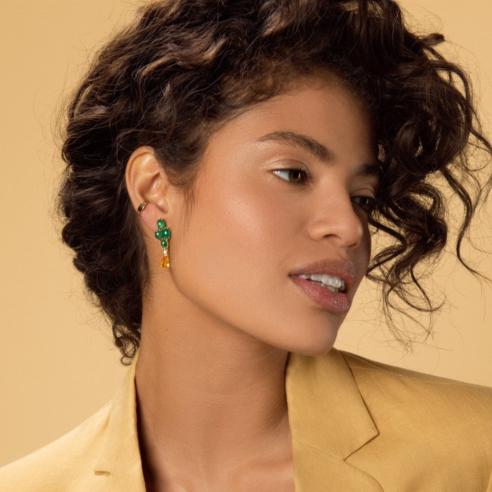 Carolini wearing our Gold Ear Cuff and Brazilian Emerald  & Yellow Sapphire Earrings by McFarlane Fine Jewellery