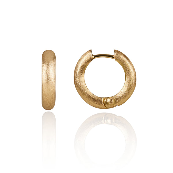 Chunky Matt Gold Hoop Earrings