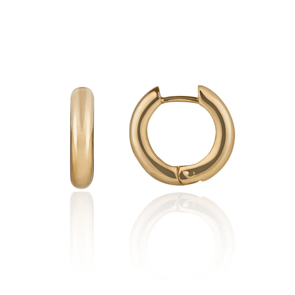 Chunky Polished Gold Hoop Earrings