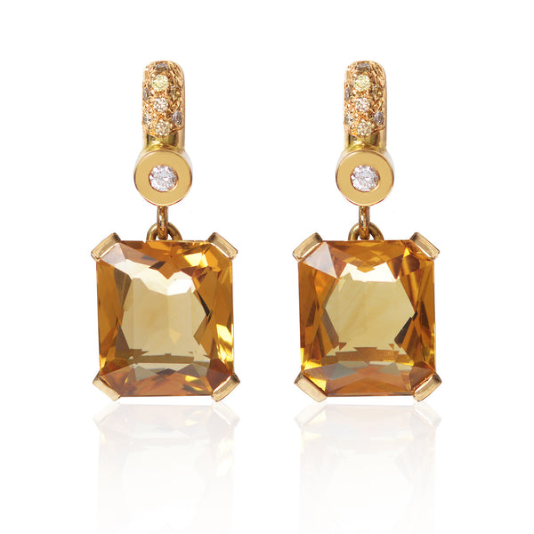 Citrine and diamond pave earrings as made by McFarlane Fine Jewellery