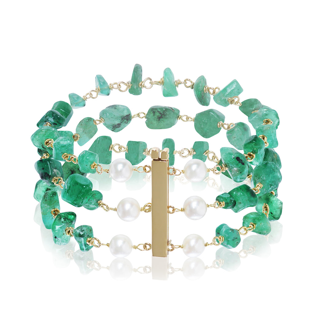Brazilian Emerald & Pearl Bracelet by Love Is