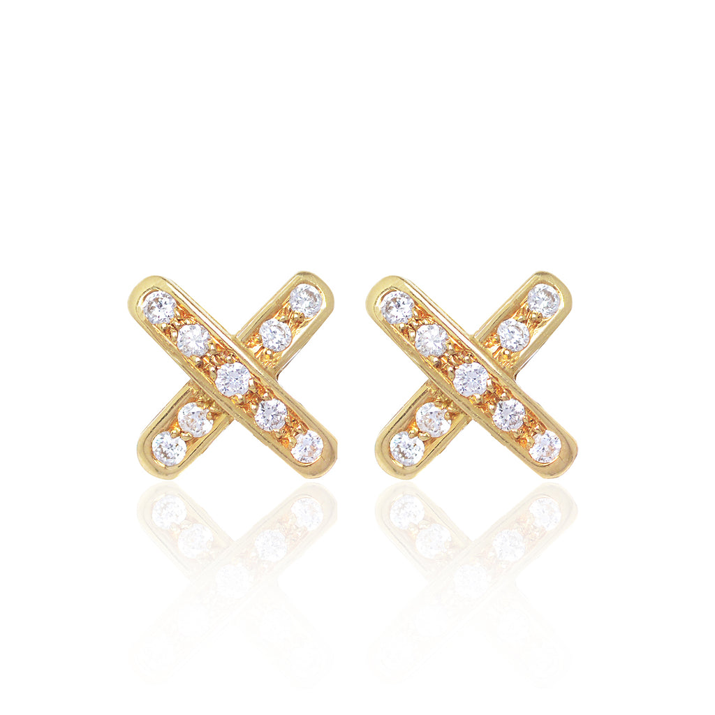 Cross Diamond Earrings set in 18ct yellow gold with 18 x 2 pointer diamonds by Love Is