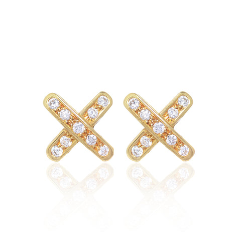 Cross Diamond Earrings set in 18ct yellow gold with 18 x 2 pointer diamonds by McFarlane Fine Jewellery