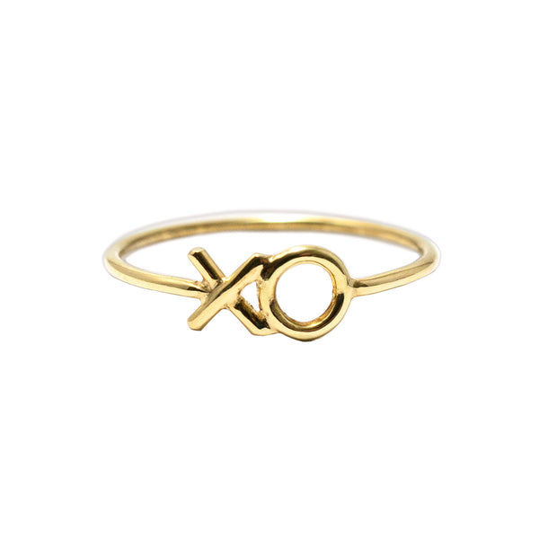 18ct yellow gold XO Ring by Love Is