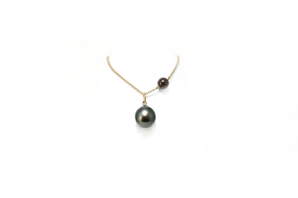 Diamond Bead Necklace with a Tahitian Pearl Pendant
