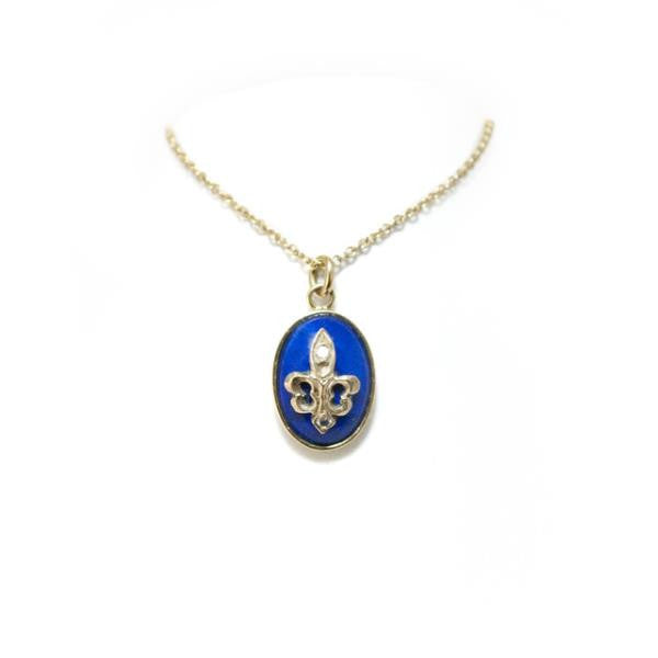 Blue Fleur de Lys Necklace by McFarlane Fine Jewellery