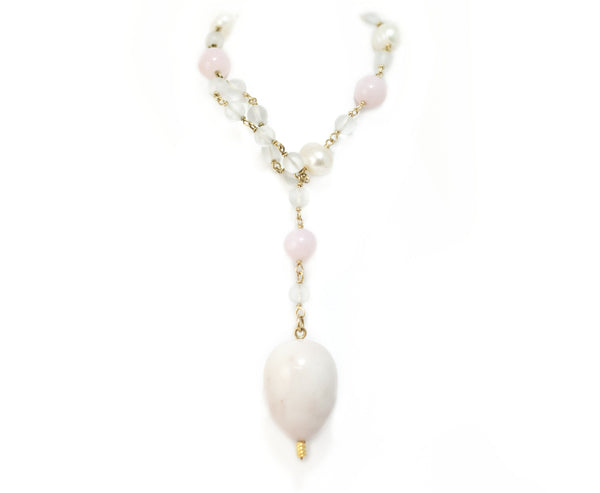 Pink Peruvian Opal & Pearl Necklace by McFarlane Fine Jewellery