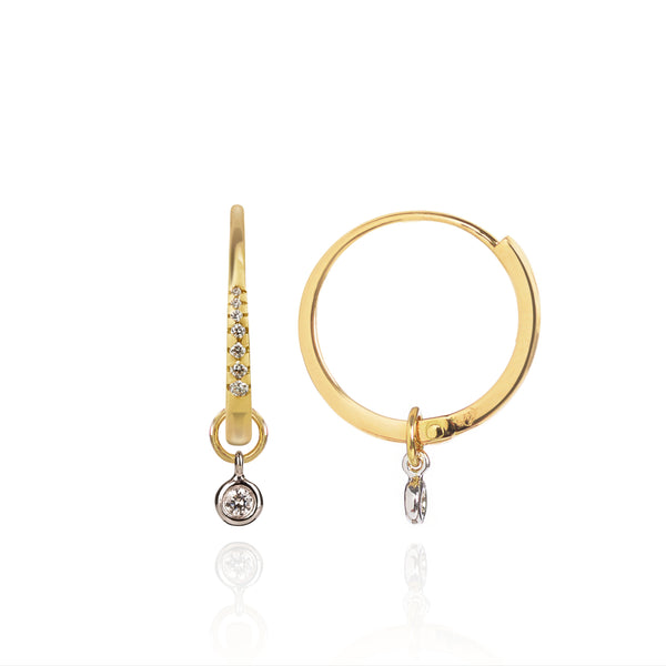 Diamond Studded Gold Closed Hoops with Diamond Pendants side view by McFarlane Fine Jewellery