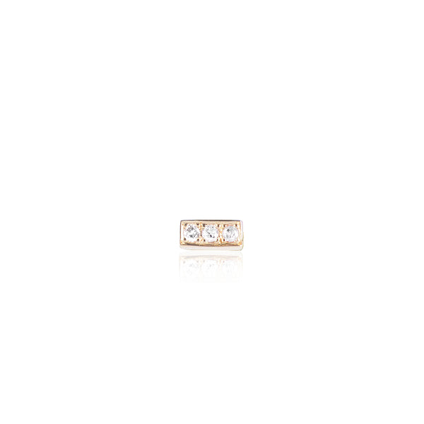 3 Diamond Bar Stud in 18ct yellow gold by McFarlane Fine Jewellery