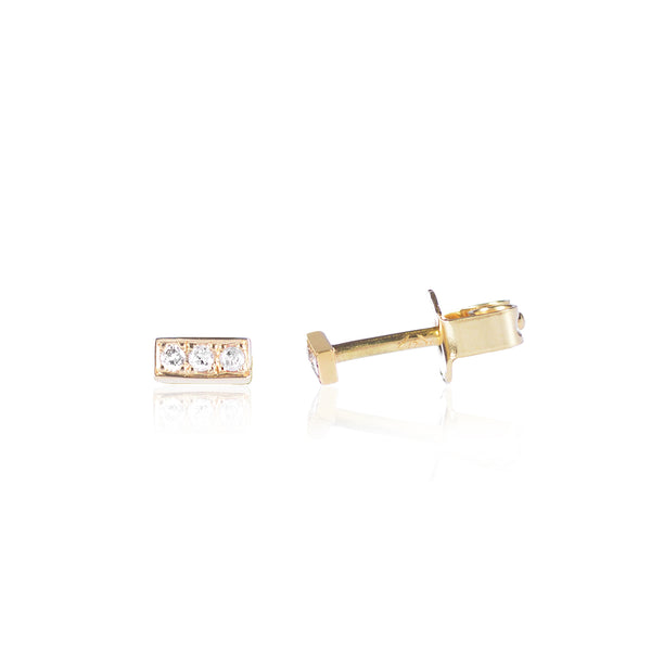 Diamond Bar studs in 18ct yellow gold side view by McFarlane Fine Jewellery