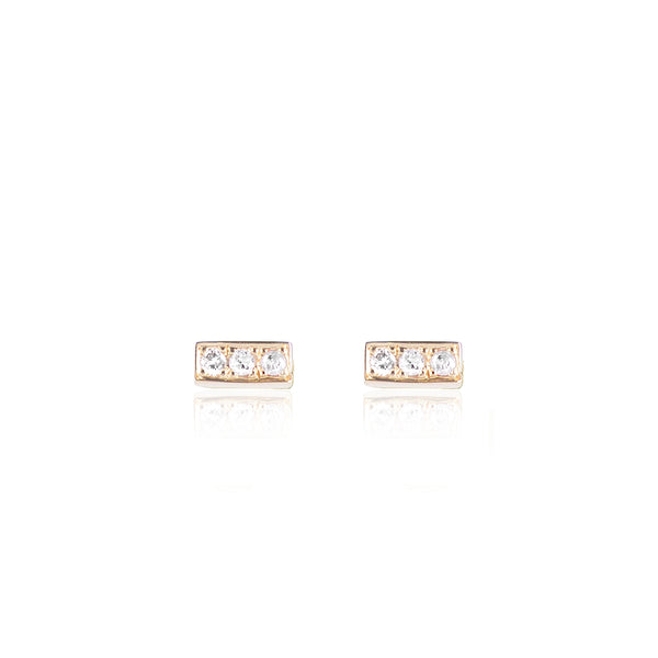 Diamond Bar studs in 18ct yellow gold by McFarlane Fine Jewellery
