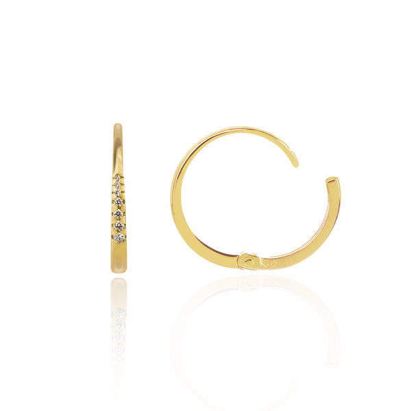 Diamond Studded Gold Closed Hoops Side View by McFarlane Fine Jewellery