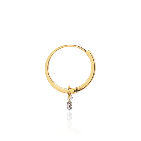 Diamond Studded Gold Closed Hoop with Diamond Pendant side view by McFarlane Fine Jewellery