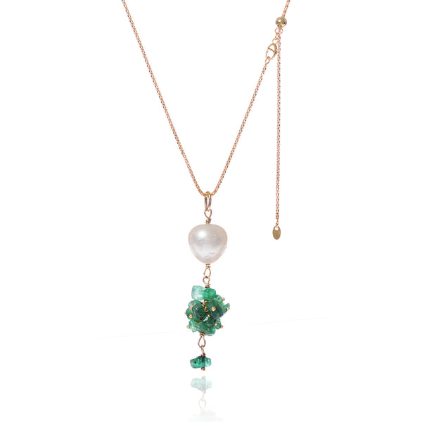 Tumbled Brazilian Emerald & Baroque Pearl Necklace by McFarlane Fine Jewellery