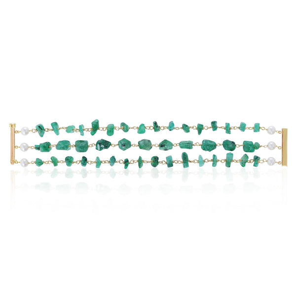Brazilian Emerald and Pearl Bracelet pictured open by McFarlane Fine Jewellery
