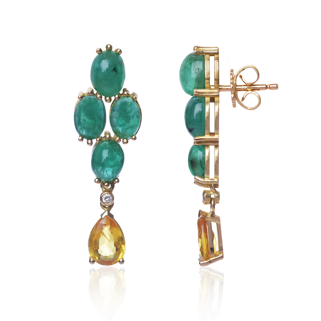 Brazilian Emerald and Yellow Sapphire Earrings by McFarlane Fine Jewellery