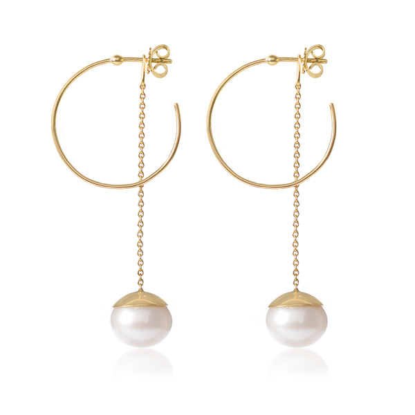 18ct yellow gold Small Esmeralda Hoops with Pearls by McFarlane Fine Jewellery