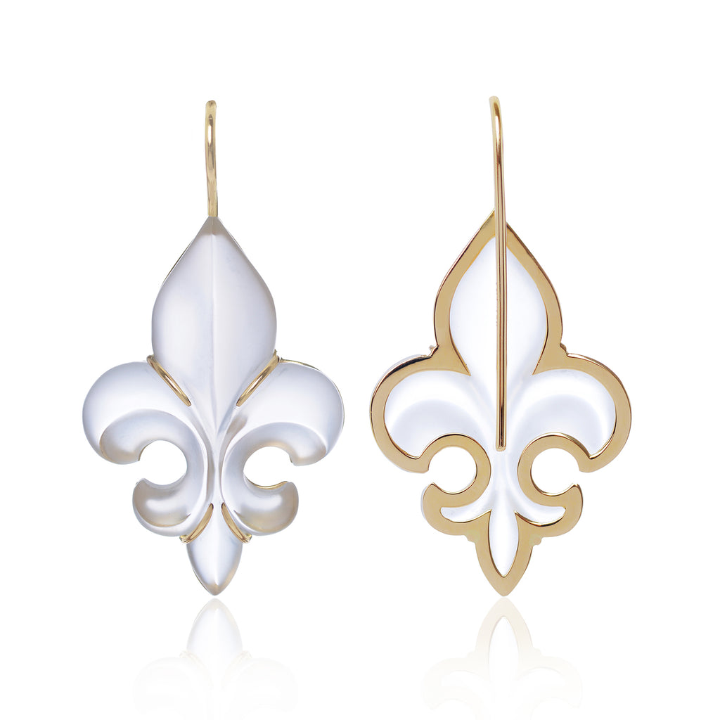 Frosted Fleur des Lys Earrings in 18ct yellow gold back view with gold trimming by McFarlane Fine Jewellery
