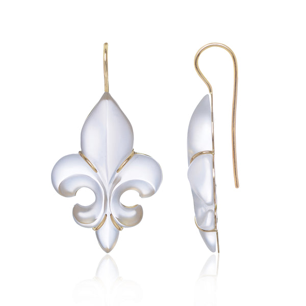 Frosted Fleur des Lys Earrings in 18ct yellow gold side view by McFarlane Fine Jewellery