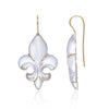 Frosted Fleur des Lys Earrings in 18ct yellow gold by Love Is Side View