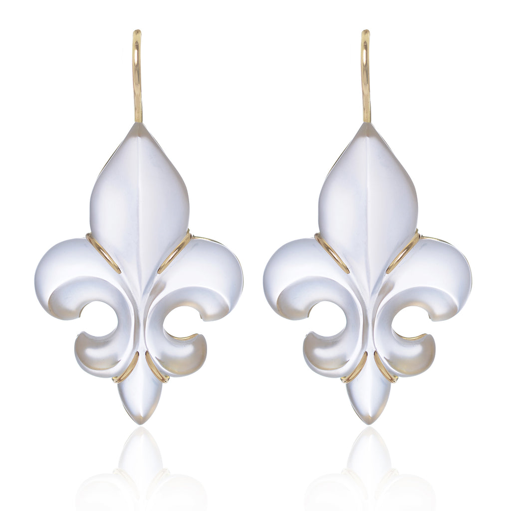 Frosted Fleur des Lys Earrings in 18ct yellow gold by Love Is