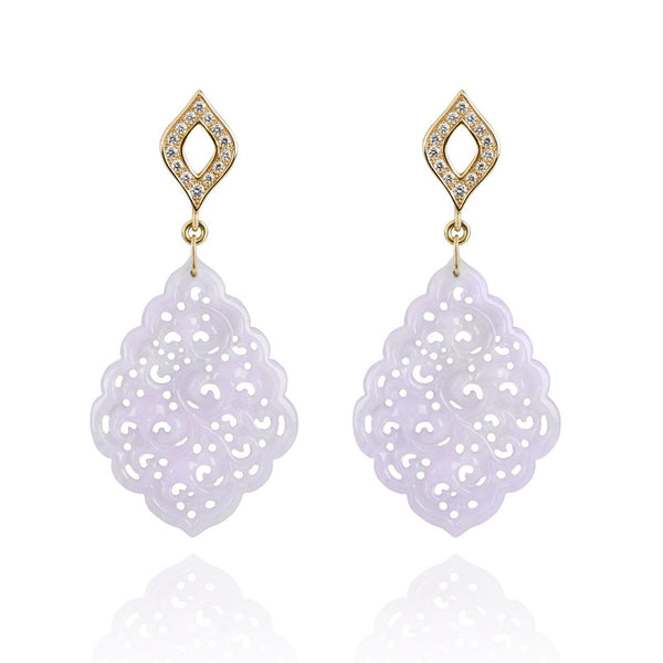 Lavender Jade and Diamond Earrings
