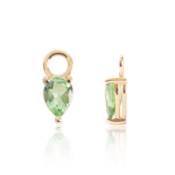 Light Green Tourmaline Earring Pendants Side View by McFarlane Fine Jewellery