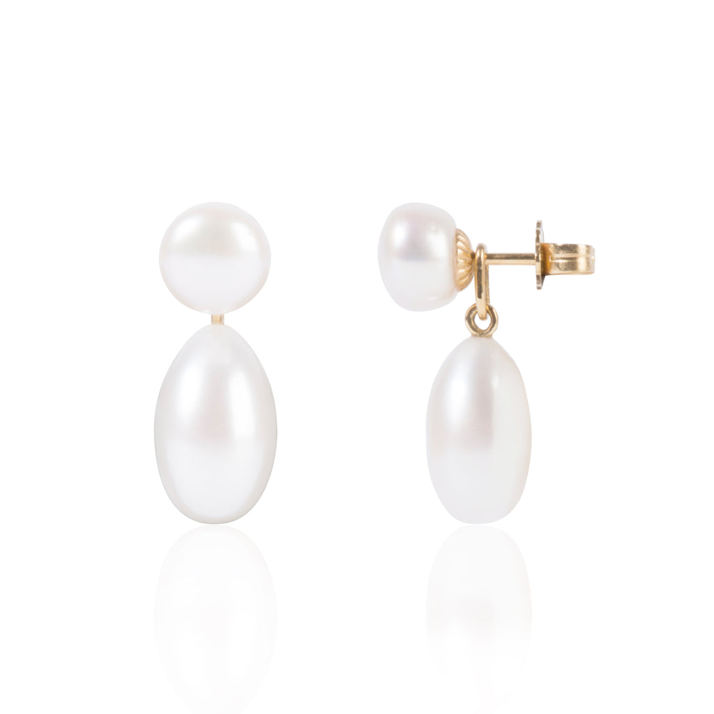 Button Pearls with Elongated Pearl Pendants Side View by McFarlane Fine Jewellery
