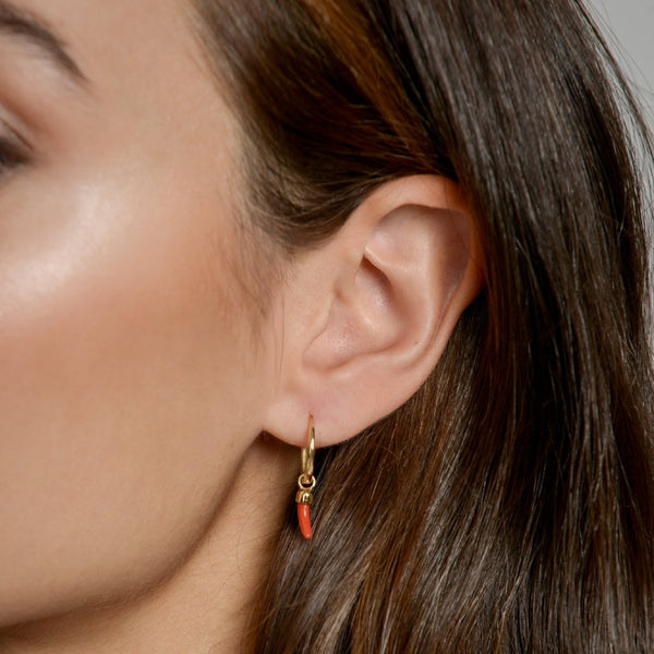 Anna wearing our Little Chilli Earring Pendant by McFarlane Fine Jewellery