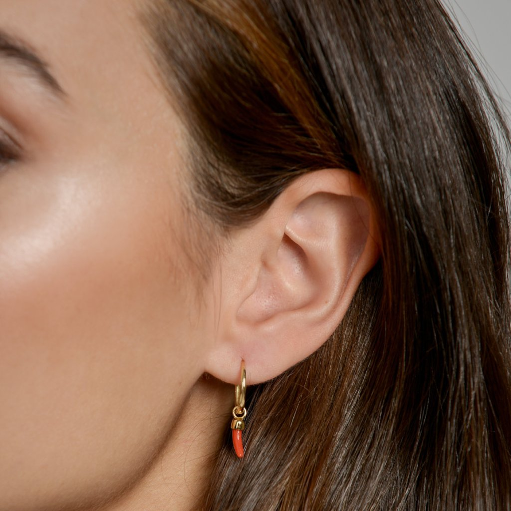 Anna wearing our Gold Closed Hoop with Chilli Earring Pendant by McFarlane Fine Jewellery