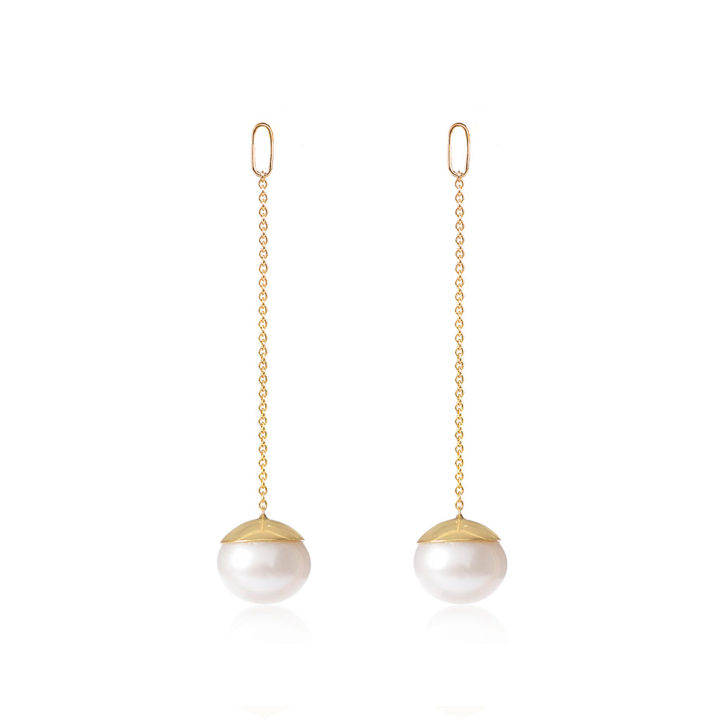 Long Chained Gold Capped White Cultured Pearl Earring Pendants by McFarlane Fine Jewellery