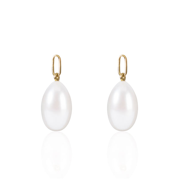 Elongated White Pearl Earring Pendants by McFarlane Fine Jewellery