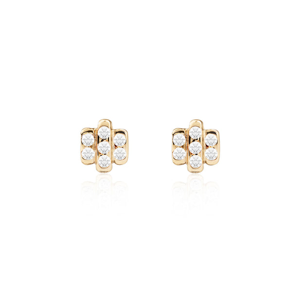 Triple Diamond Bar Studs Front View by McFarlane Fine Jewellery