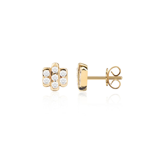 Triple Diamond Bar Studs by McFarlane Fine Jewellery