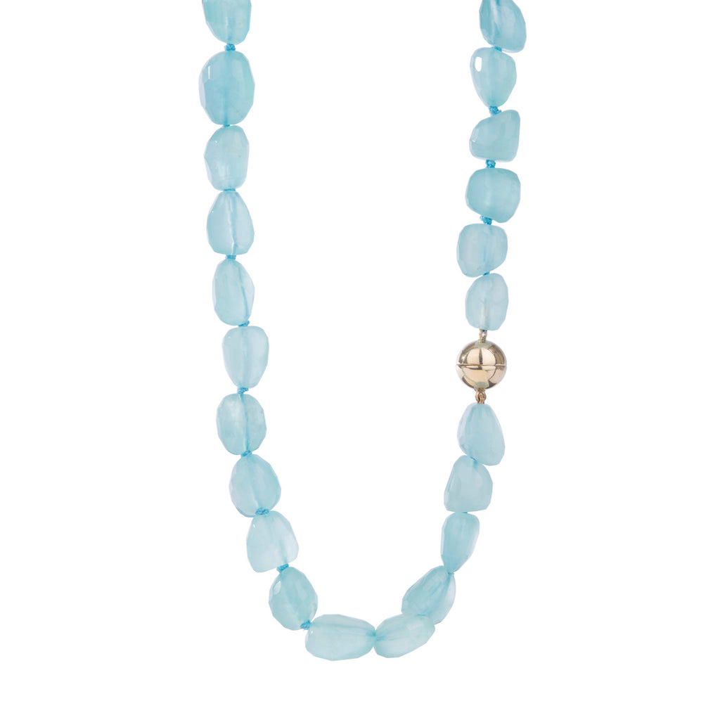 Aquamarine Necklace with Magnetic 18ct Gold Clasp