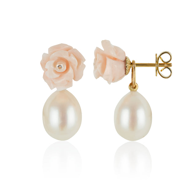 Coral Rose Earrings with Pearl Pendants side view by McFarlane Fine Jewellery