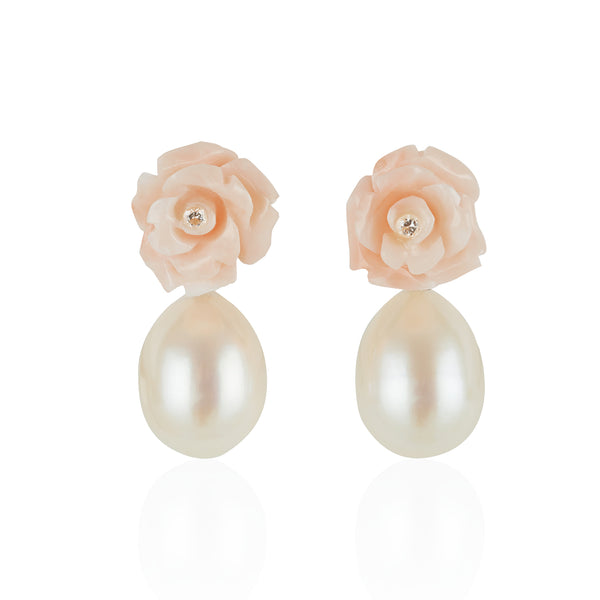 Coral Rose Earrings with Pearl Pendants by McFarlane Fine Jewellery