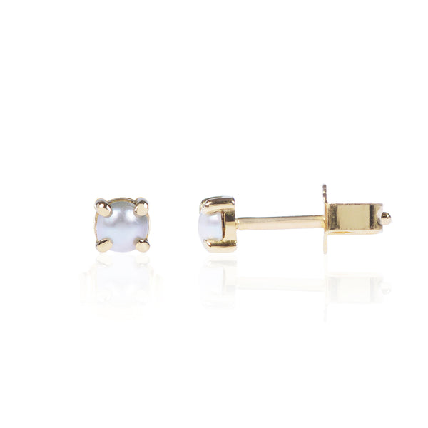Mabe Pearl Studs in 18ct yellow gold side view by McFarlane Fine Jewellery