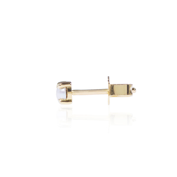 Mabe Pearl Stud Side View in 18ct yellow gold by McFarlane Fine Jewellery