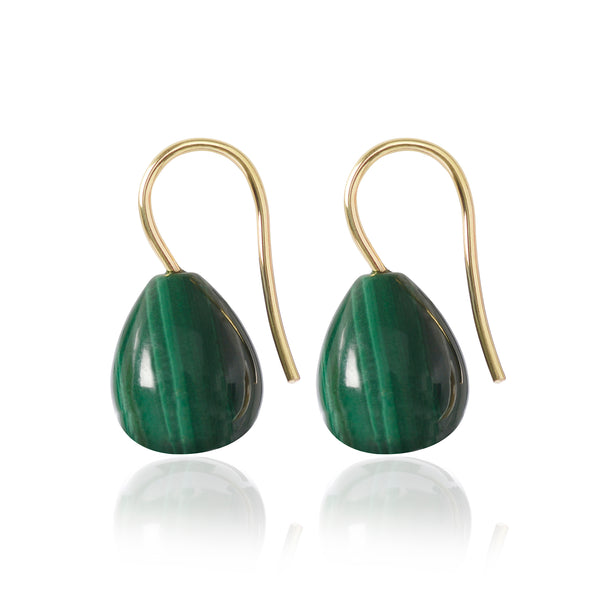 18ct yellow gold Malachite Drop Earrings by McFarlane Fine Jewellery